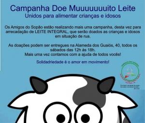 """Até o final do mês de julho/2014,  vamos coletar leite integral para a campanha         """"Doe Muuuuuito Leite"""".  Agradecemos a colaboração de todos!"""